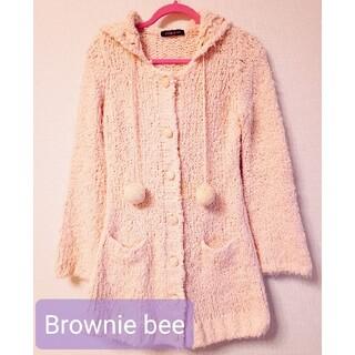 ブラウニービー(Brownie bee)のBrownie bee☆フード付きカーディガン(ピンク)(カーディガン)