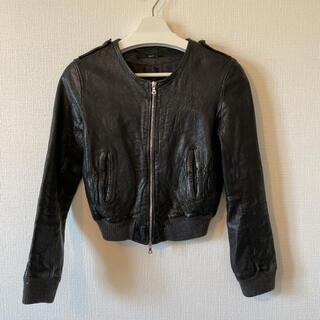 トゥモローランド(TOMORROWLAND)のEdition ラム レザージャケット ライダース ブラック 38 定価約5万(ライダースジャケット)