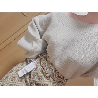 レトロガール(RETRO GIRL)のオフショルニット ゴブラン織りスカート(ニット/セーター)