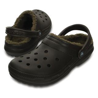 クロックス(crocs)の25cm クロックス classic lined clog ブラウン ボア(サンダル)