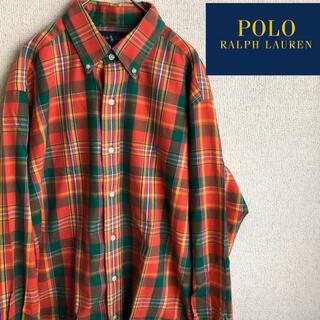 POLO RALPH LAUREN - POLO RALPHLAUREN 長袖 チェックシャツ 90's Lサイズ 古着