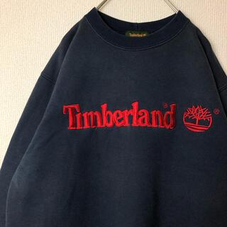 ティンバーランド(Timberland)の【最強刺繍】90s 古着 ディンバーランド 刺繍 でかろご 裏起毛(スウェット)
