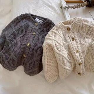 キャラメルベビー&チャイルド(Caramel baby&child )のケーブル編みニットカーディガン 90 男の子 女の子(カーディガン)