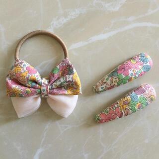 ボンポワン(Bonpoint)のリバティ リボン ヘアゴム  チュール ピンク(ファッション雑貨)