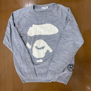 アベイシングエイプ(A BATHING APE)のA BATHING APE 大猿 セーター グレー Lサイズ ニット(ニット/セーター)