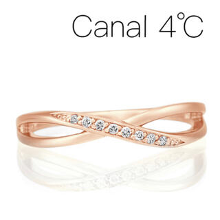 4℃ - ■限行品■【Canal4℃】K10PG ウェーブダイヤモンドリング