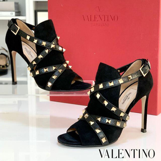 VALENTINO - 1353 美品 ヴァレンティノ ロックスタッズ ブーティ パンプス 黒