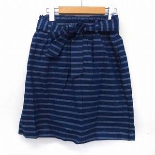 フリークスストア(FREAK'S STORE)の美品 フリークスストア ボーダーウエストリボンスカート ブルー フリーサイズ(ひざ丈スカート)