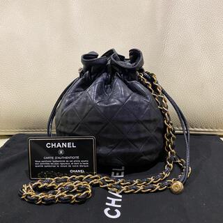 CHANEL - 美品 シャネル 正規品 マトラッセ ラムスキン 巾着 チェーン ショルダーバッグ