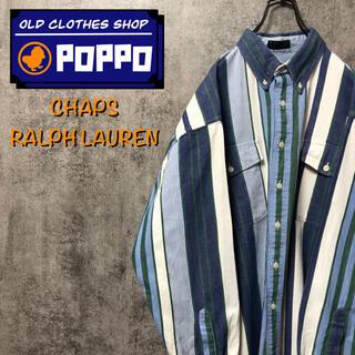 Ralph Lauren - チャップスラルフローレン☆フラップダブルポケットマルチストライプシャツ 90s