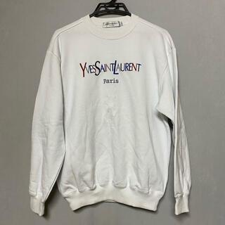 Saint Laurent - YSL イヴサンローラン  トレーナー 古着  ロゴトレーナー 白 スウェット
