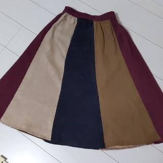 ソルベリー(Solberry)のsoulberry 異素材切り替え配色スカート ボルドーマルチ(ひざ丈スカート)