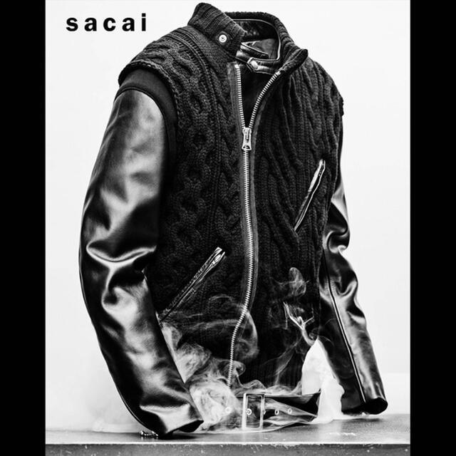 UNDERCOVER(アンダーカバー)のUNDERCOVER×sacai 30thコラボ レザーダウン ニット切り返し メンズのジャケット/アウター(ライダースジャケット)の商品写真