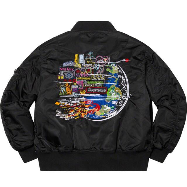 Supreme(シュプリーム)の希少 新品XL supreme globe MA-1 黒 シュプリーム 登坂 メンズのジャケット/アウター(ブルゾン)の商品写真