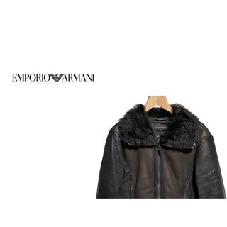エンポリオアルマーニ(Emporio Armani)のEMPORIO ARMANI バイカラー ムートン ジャケット / レザー(レザージャケット)