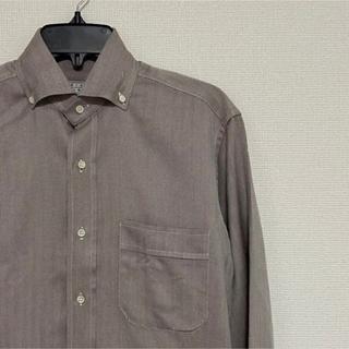 フィナモレ(FINAMORE)のオリアン ORIAN ヘリンボーンボタンダウンシャツ size15 グレー系(シャツ)