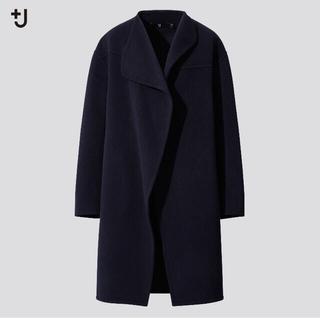UNIQLO - ユニクロ+J ジル サンダー カシミヤブレンド ノーカラー コート
