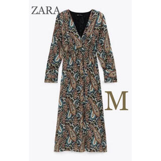 ZARA - 【新品・未使用】ZARA プリント柄 サテン ワンピース  M