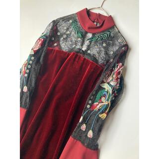 mame - mame 刺繍 レース ベロア ドレス ワンピース マメ