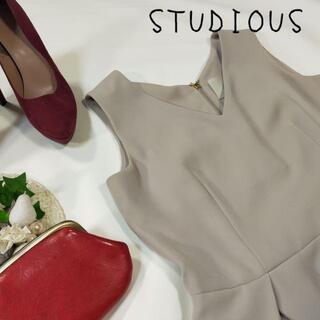 ステュディオス(STUDIOUS)のステュディオス ノースリーブ ワンピース グレー サイズM 36 日本製(ひざ丈ワンピース)