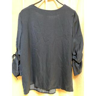 エージーバイアクアガール(AG by aquagirl)の袖リボン紺色トップス(カットソー(長袖/七分))