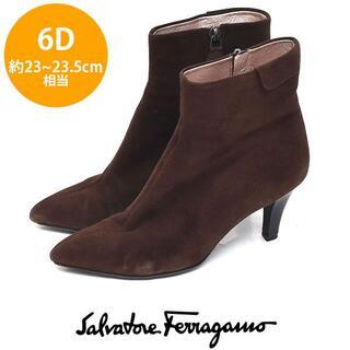 サルヴァトーレフェラガモ(Salvatore Ferragamo)のフェラガモ サイド折り返しデザイン ショートブーツ 6D(約23-23.5cm)(ブーツ)