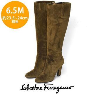 サルヴァトーレフェラガモ(Salvatore Ferragamo)のフェラガモ サイドゴアスウェード ロングブーツ 6.5M(約23.5-24cm)(ブーツ)