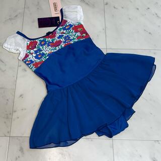 CHACOTT - 新品 チャコット FREED スカート付レオタード120 ブルー パフ ①