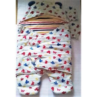 ミッキーマウス(ミッキーマウス)の50-70手袋+冬おくるみ足付フード付き寝袋カバーオール防寒着 ベビー服 新生児(おくるみ/ブランケット)