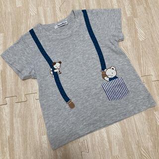familiar - ファミリア サスペンダー Tシャツ 半袖 ファミちゃん グレー 100