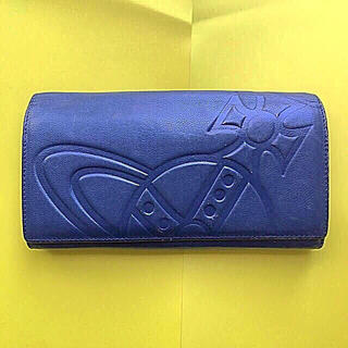 Vivienne Westwood - ヴィヴィアンウエストウッド  ネイビー  本革 レザー 型押し 長財布
