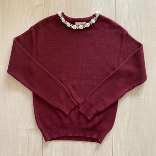 エージーバイアクアガール(AG by aquagirl)の美品 パール付きニット(ニット/セーター)