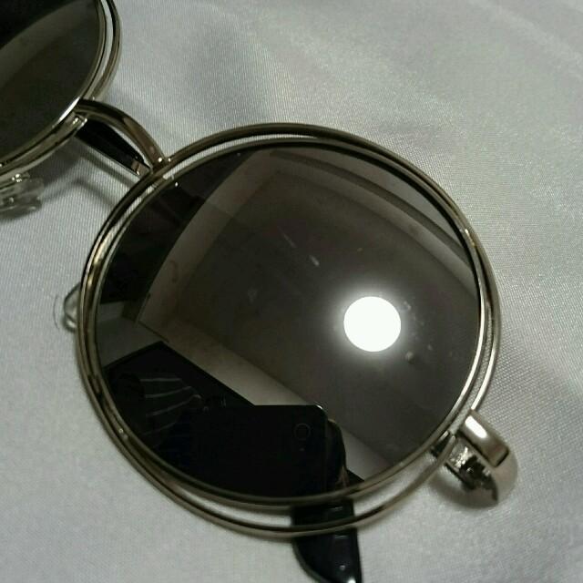 シルバーミラーサングラス丸ダブルフレーム レディースのファッション小物(サングラス/メガネ)の商品写真