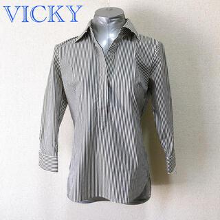 VICKY - VICKY ストライプ ストレッチ シャツ プルオーバー
