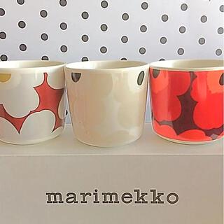 marimekko - ♡マリメッコ  ラテマグ  ウニッコ  オリーブ ベージュ ホワイト マグカップ