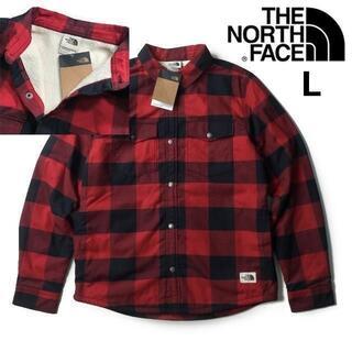THE NORTH FACE - ノースフェイス フリースジャケット シャツ(L)赤 チェック柄180915