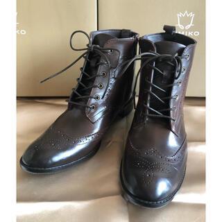 ヒミコ(卑弥呼)の卑弥呼 レースアップ レインブーツ ブラウン Lサイズ アンティーク加工(レインブーツ/長靴)
