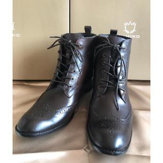 ヒミコ(卑弥呼)の卑弥呼 レースアップ レインブーツ ブラウン LLサイズ アンティーク加工(レインブーツ/長靴)