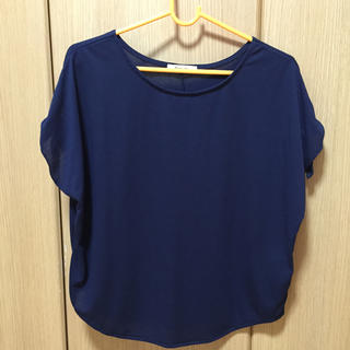 シマムラ(しまむら)の袖リボン 紺色カットソー(カットソー(半袖/袖なし))