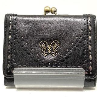 ANNA SUI - アナスイ 3つ折り財布 - 黒×シルバー