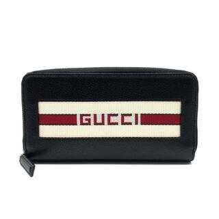 Gucci - 新品同様 グッチ 459138 ラウンドファスナー財布 ロゴ ストライプ 長財布