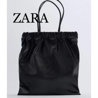 ZARA - 4 ZARA ザラ 新品 ギャザーオープニングトートバッグ 黒