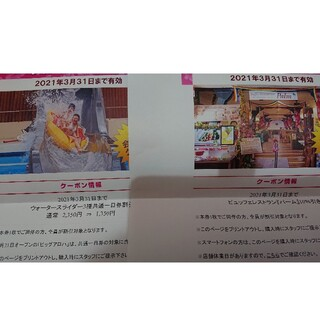 【3月末期限】ハワイアンズ スライダー割引券 レストラン割引券(プール)