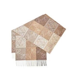 LOEWE - 【美品】ロエベ カシミア混刺繍アナグラムチェック柄マフラー
