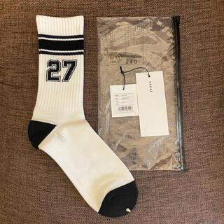 サカイ(sacai)のsacai x fragment socks ソックス 靴下 ホワイト×ブラック(ソックス)