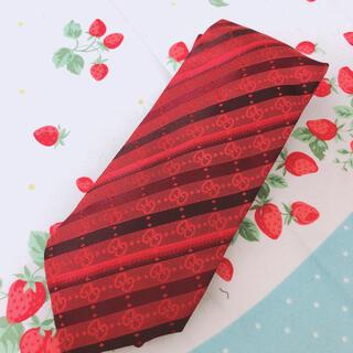 グッチ(Gucci)の美品GUCCI グッチ 正規品 ネクタイ 赤 GG柄 レッド イタリア製 シルク(ネクタイ)