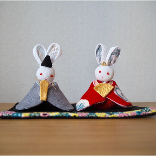 mina perhonen - 雛人形 ミナペルホネン ハンドメイド 縮緬細工 雛飾り お雛様 うさぎ ひな祭り