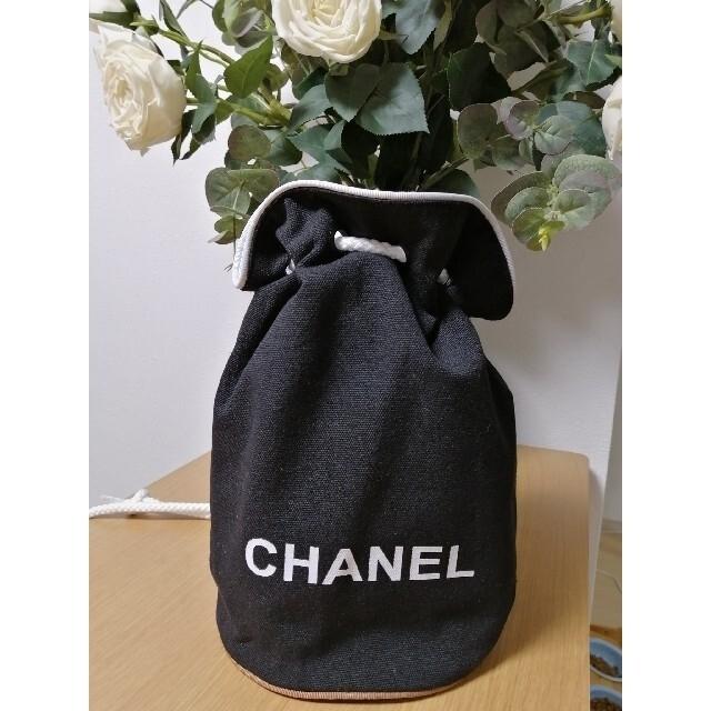 CHANEL(シャネル)の新品 CHANEL リュックサック 巾着 ノベルティ ブラック キャンバス レディースのファッション小物(ポーチ)の商品写真