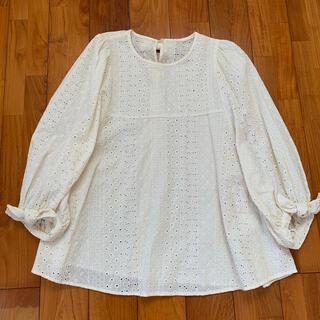 franche lippee - フランシュリッペ  七分袖 刺繍 ブラウス ミルク
