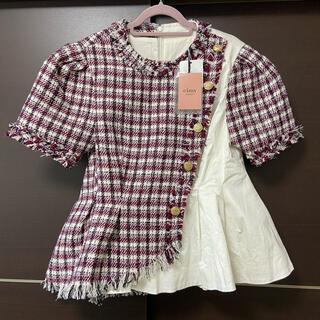 eimy istoire - eimy新品ボタンデザインツイードコンビシャツ